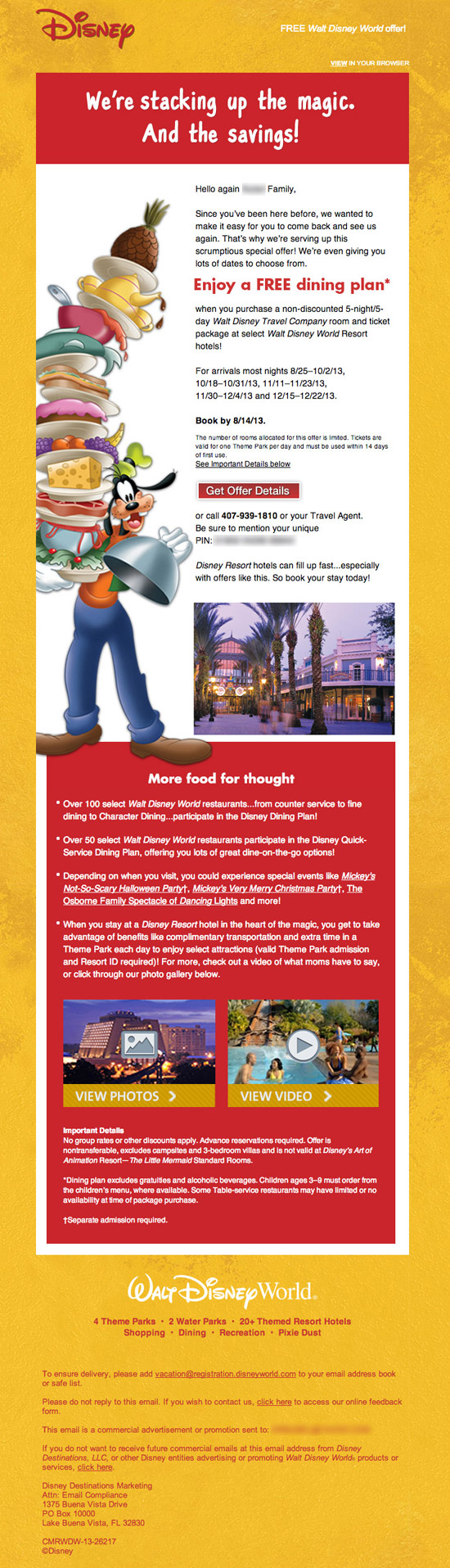 Free Disney Dining PIN Code